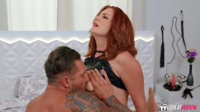 Beautiful, red haired mature with big.. big tits cumshot hairy