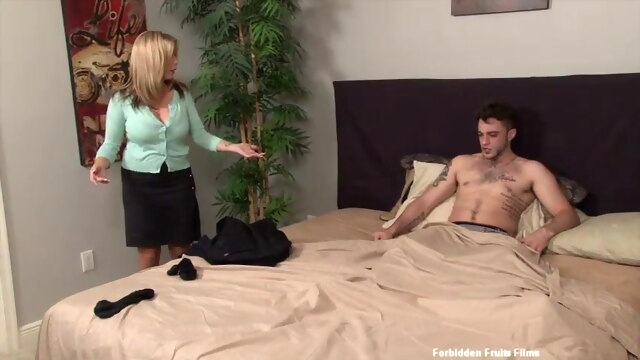 Stepmom helps stepson blonde blowjob doggy style