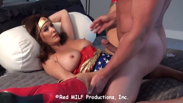 Horny Wonder Woman is determined to fuck.. big tits brunette cumshot
