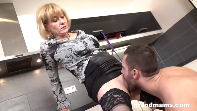 Blonde Granny Is Eagerly Sucking A.. blonde cumshot granny