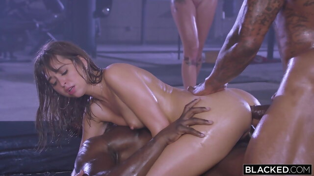 BLACKED, Riley Reid Gets DPed By Two Bulls anal blowjob brunette